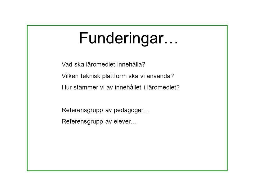 Funderingar… Vad ska läromedlet innehålla? Vilken teknisk plattform ska vi använda? Hur stämmer vi av innehållet i läromedlet? Referensgrupp av pedago