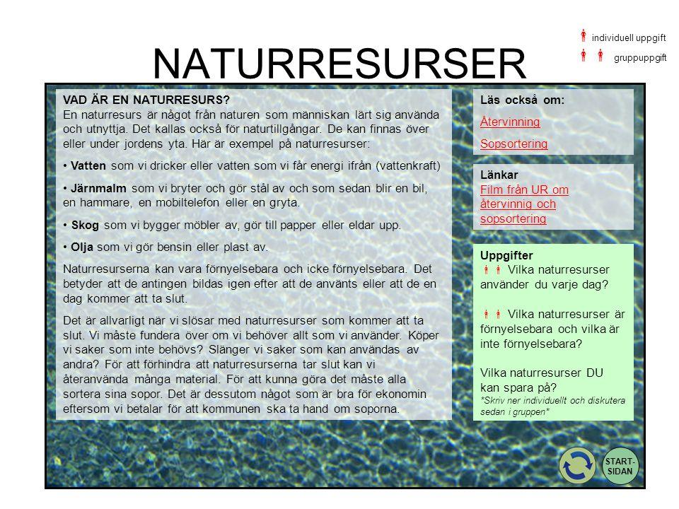 NATURRESURSER Uppgifter  Vilka naturresurser använder du varje dag?  Vilka naturresurser är förnyelsebara och vilka är inte förnyelsebara? Vilka n