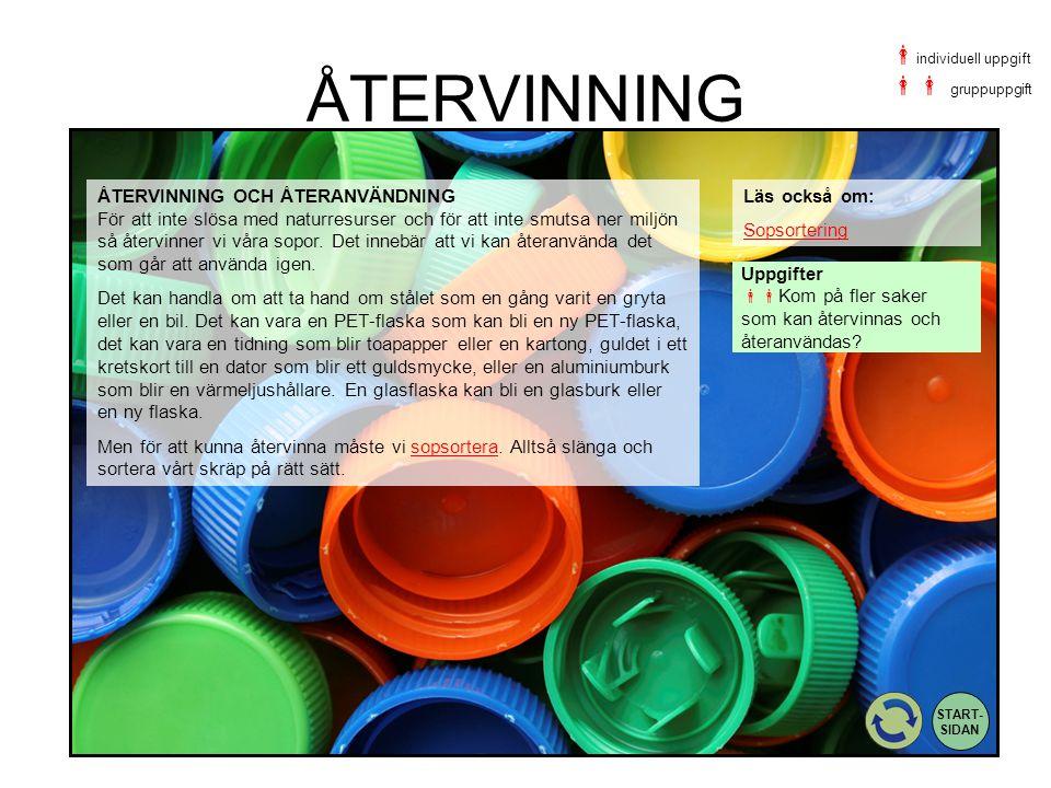 ÅTERVINNING Uppgifter  Kom på fler saker som kan återvinnas och återanvändas? Läs också om: Sopsortering ÅTERVINNING OCH ÅTERANVÄNDNING För att inte