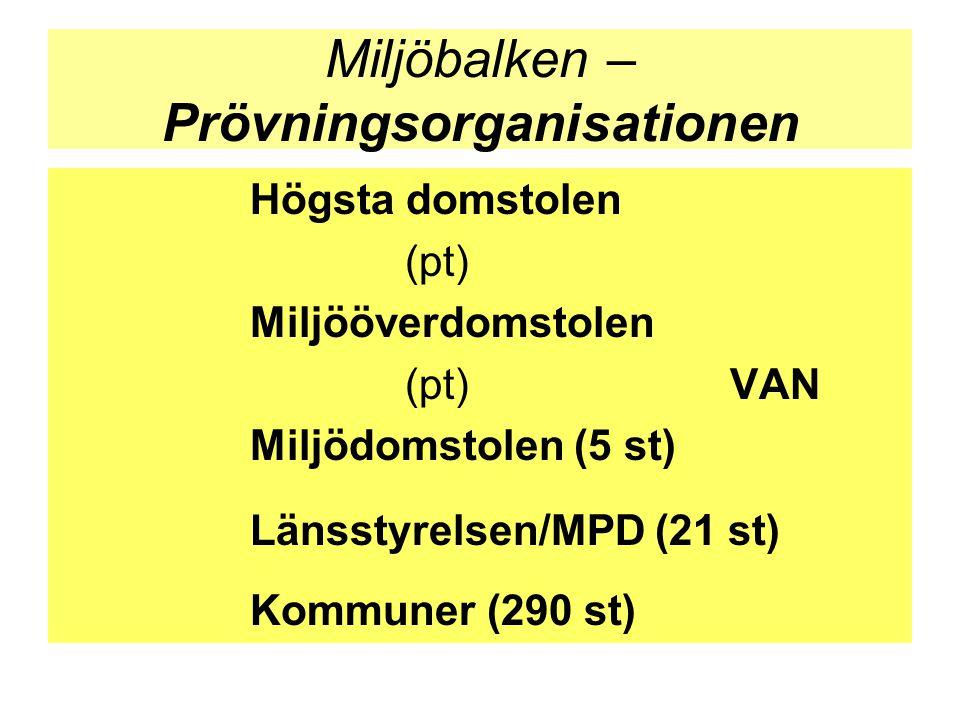 Miljöbalken – Prövningsorganisationen Högsta domstolen (pt) Miljööverdomstolen (pt)VAN Miljödomstolen (5 st) Länsstyrelsen/MPD (21 st) Kommuner (290 s
