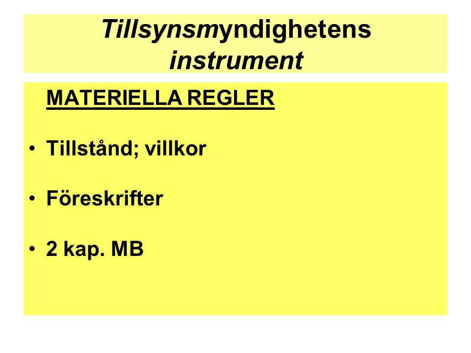 Tillsynsmyndighetens instrument MATERIELLA REGLER •Tillstånd; villkor •Föreskrifter •2 kap. MB
