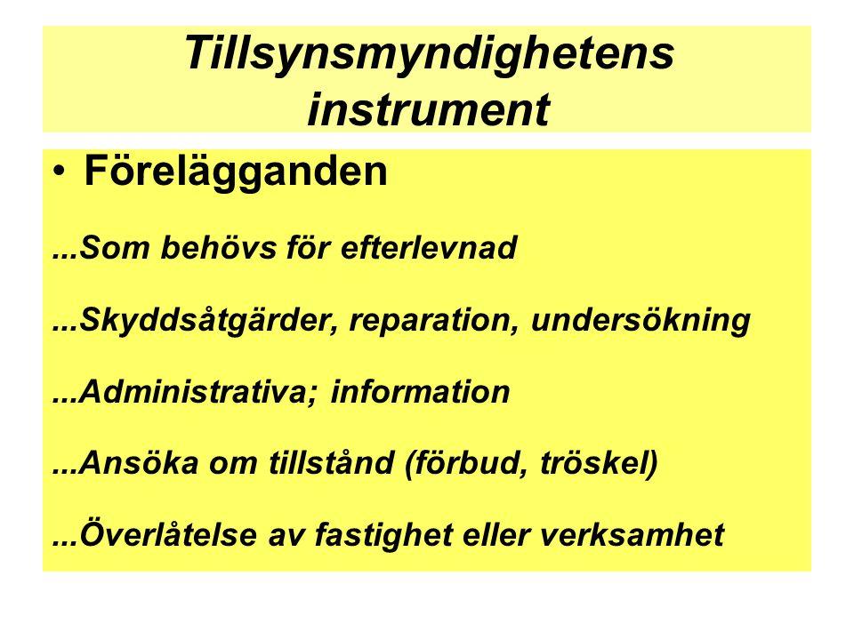 Tillsynsmyndighetens instrument •Förelägganden...Som behövs för efterlevnad...Skyddsåtgärder, reparation, undersökning...Administrativa; information..