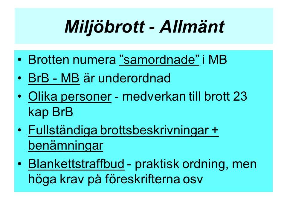 """Miljöbrott - Allmänt •Brotten numera """"samordnade"""" i MB •BrB - MB är underordnad •Olika personer - medverkan till brott 23 kap BrB •Fullständiga brotts"""