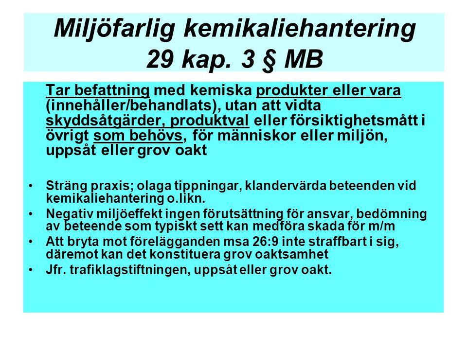Miljöfarlig kemikaliehantering 29 kap. 3 § MB Tar befattning med kemiska produkter eller vara (innehåller/behandlats), utan att vidta skyddsåtgärder,