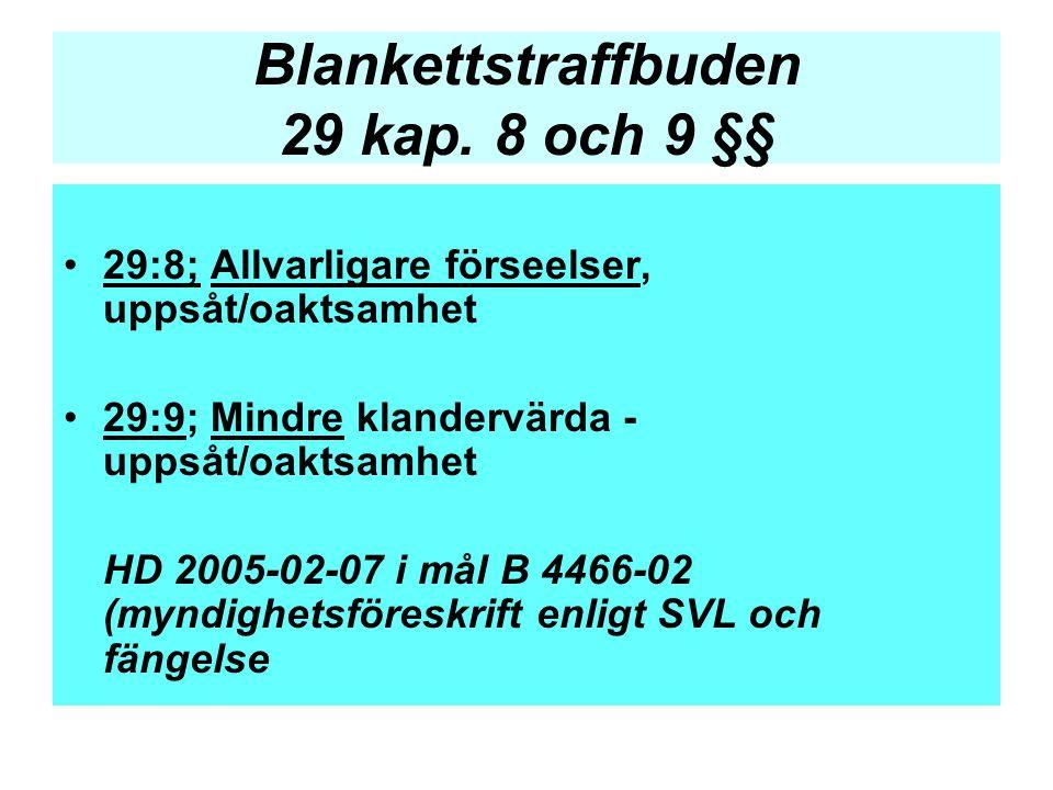 Blankettstraffbuden 29 kap. 8 och 9 §§ •29:8; Allvarligare förseelser, uppsåt/oaktsamhet •29:9; Mindre klandervärda - uppsåt/oaktsamhet HD 2005-02-07