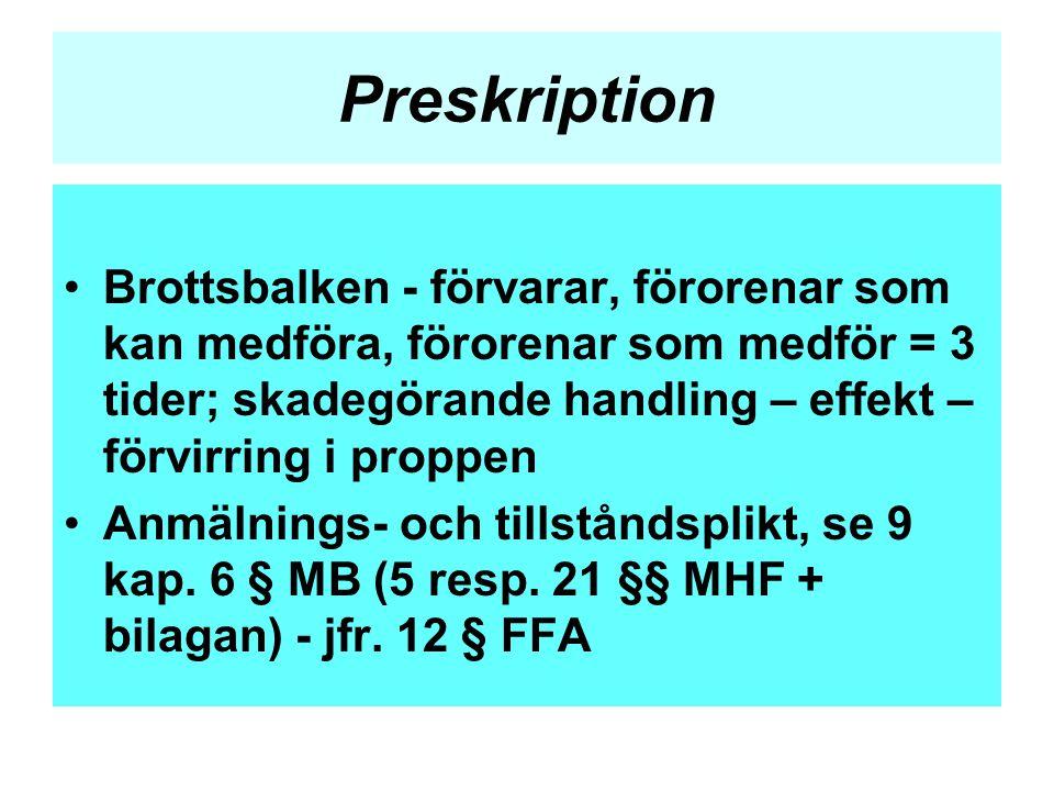 Preskription •Brottsbalken - förvarar, förorenar som kan medföra, förorenar som medför = 3 tider; skadegörande handling – effekt – förvirring i proppe