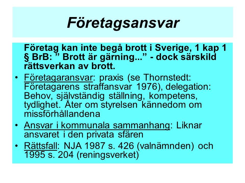 """Företagsansvar Företag kan inte begå brott i Sverige, 1 kap 1 § BrB: """" Brott är gärning..."""" - dock särskild rättsverkan av brott. •Företagaransvar: pr"""
