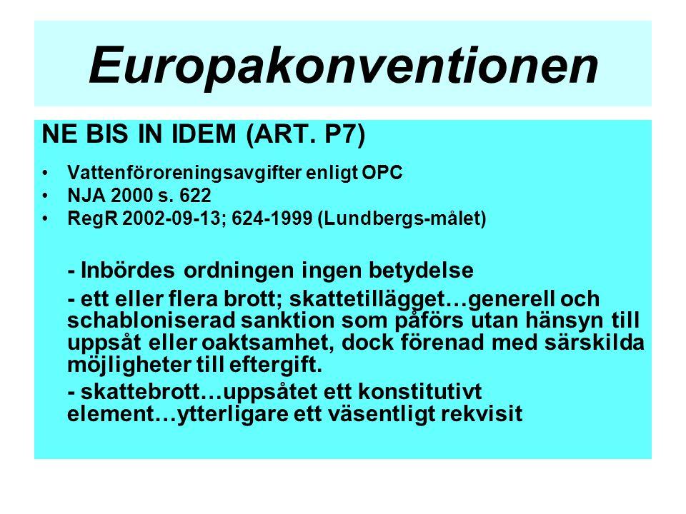Europakonventionen NE BIS IN IDEM (ART. P7) •Vattenföroreningsavgifter enligt OPC •NJA 2000 s. 622 •RegR 2002-09-13; 624-1999 (Lundbergs-målet) - Inbö