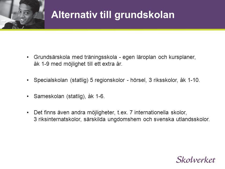Alternativ till grundskolan •Grundsärskola med träningsskola - egen läroplan och kursplaner, åk 1-9 med möjlighet till ett extra år. •Specialskolan (s