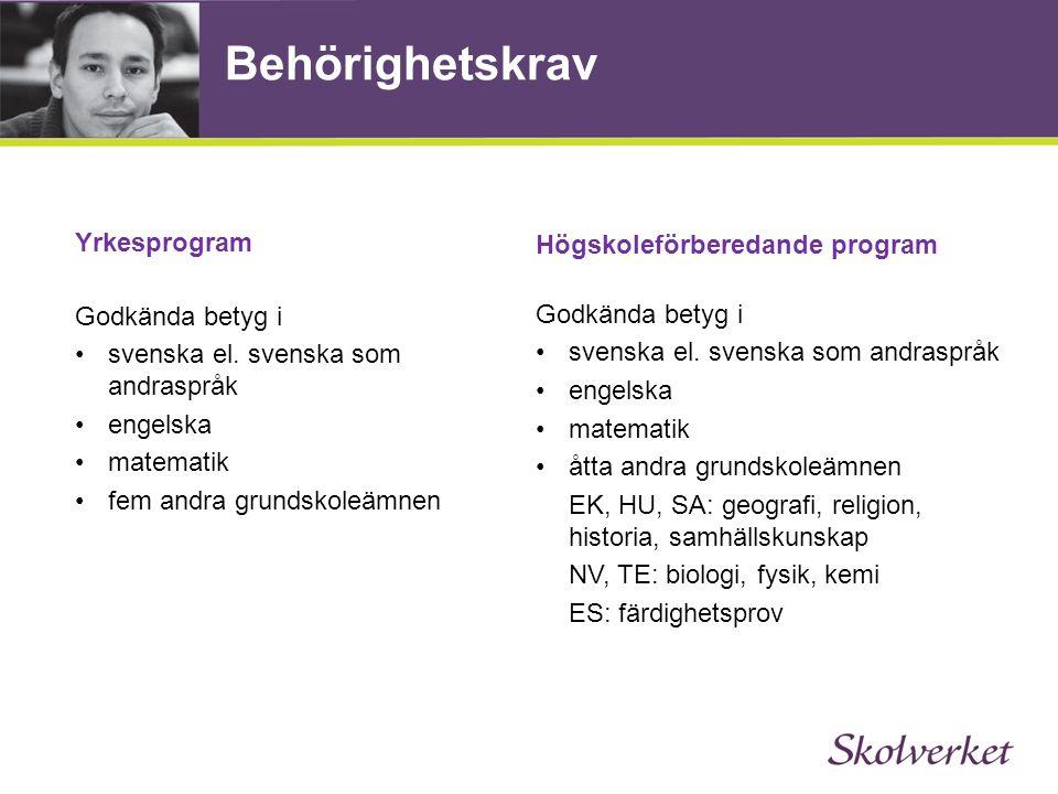Behörighetskrav Yrkesprogram Godkända betyg i •svenska el. svenska som andraspråk •engelska •matematik •fem andra grundskoleämnen Högskoleförberedande