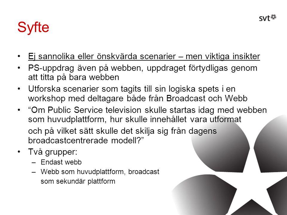 Syfte •Ej sannolika eller önskvärda scenarier – men viktiga insikter •PS-uppdrag även på webben, uppdraget förtydligas genom att titta på bara webben •Utforska scenarier som tagits till sin logiska spets i en workshop med deltagare både från Broadcast och Webb • Om Public Service television skulle startas idag med webben som huvudplattform, hur skulle innehållet vara utformat och på vilket sätt skulle det skilja sig från dagens broadcastcentrerade modell •Två grupper: –Endast webb –Webb som huvudplattform, broadcast som sekundär plattform