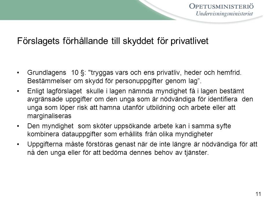 11 Förslagets förhållande till skyddet för privatlivet •Grundlagens 10 §: tryggas vars och ens privatliv, heder och hemfrid.