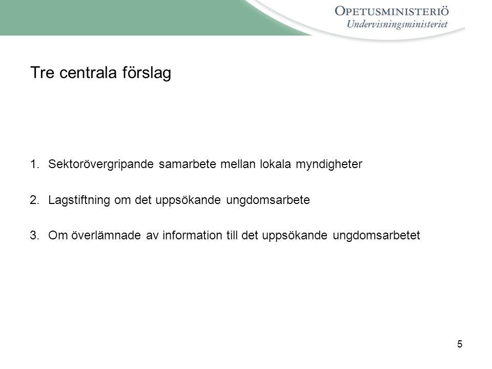 5 Tre centrala förslag 1.Sektorövergripande samarbete mellan lokala myndigheter 2.Lagstiftning om det uppsökande ungdomsarbete 3.Om överlämnade av information till det uppsökande ungdomsarbetet