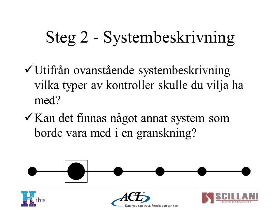  Utifrån ovanstående systembeskrivning vilka typer av kontroller skulle du vilja ha med?  Kan det finnas något annat system som borde vara med i en
