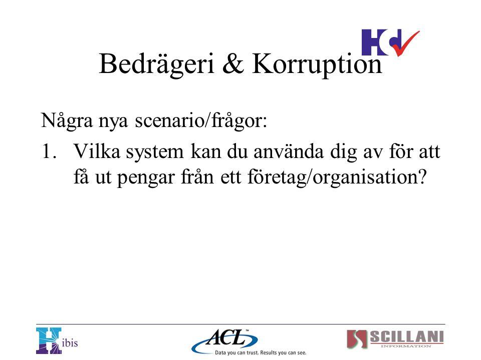 Bedrägeri & Korruption Några nya scenario/frågor: 1.Vilka system kan du använda dig av för att få ut pengar från ett företag/organisation?