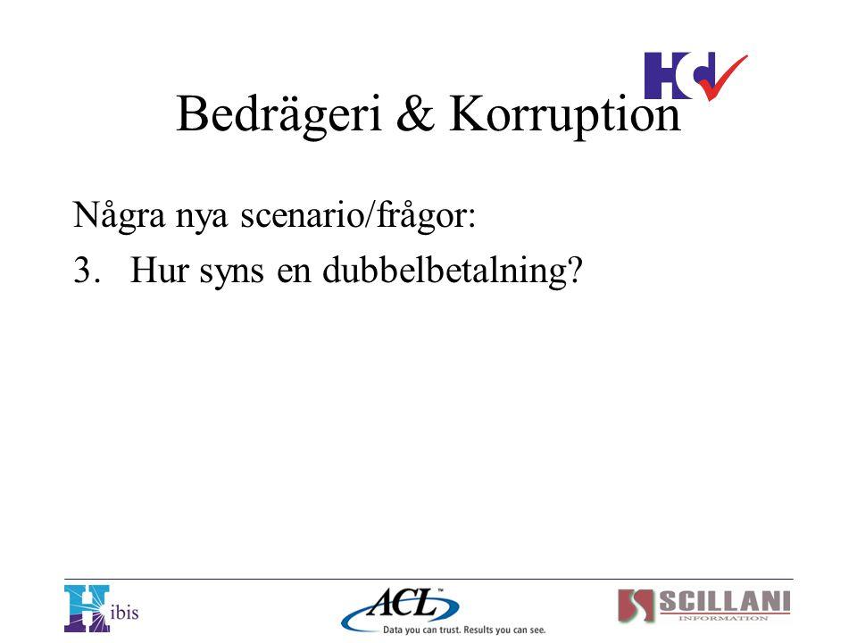 Bedrägeri & Korruption Några nya scenario/frågor: 3.Hur syns en dubbelbetalning?