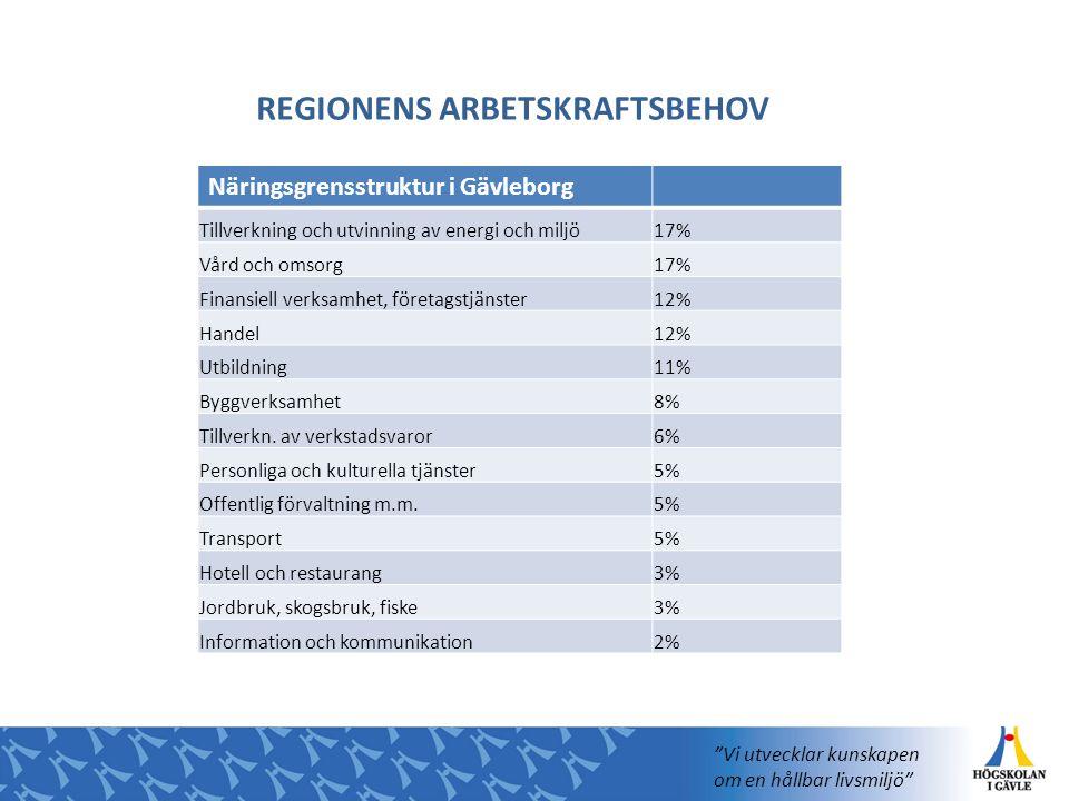 Näringsgrensstruktur i Gävleborg Tillverkning och utvinning av energi och miljö17% Vård och omsorg17% Finansiell verksamhet, företagstjänster12% Hande