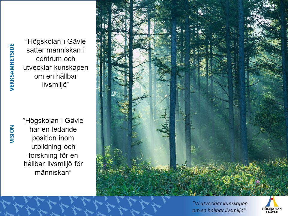 Högskolan i Gävle har en ledande position inom utbildning och forskning för en hållbar livsmiljö för människan Högskolan i Gävle sätter människan i centrum och utvecklar kunskapen om en hållbar livsmiljö VISION VERKSAMHETSIDÈ Vi utvecklar kunskapen om en hållbar livsmiljö