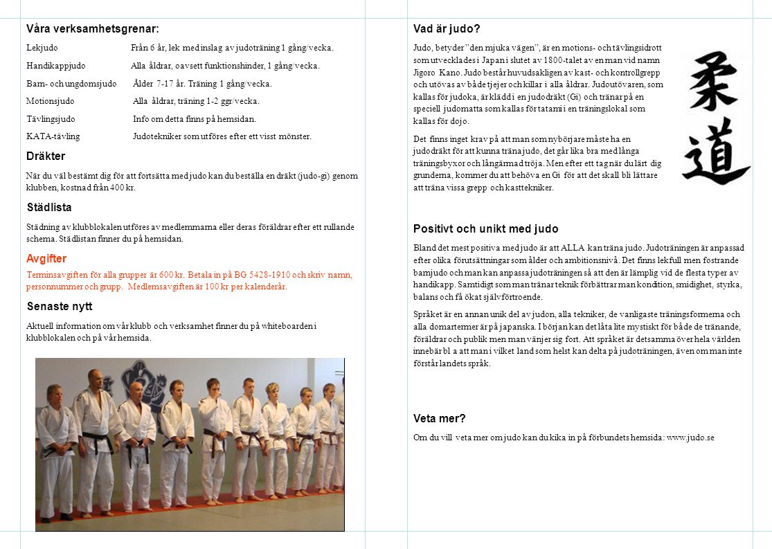 Våra verksamhetsgrenar: LekjudoFrån 6 år, lek med inslag av judoträning 1 gång/vecka. HandikappjudoAlla åldrar, oavsett funktionshinder, 1 gång/vecka.