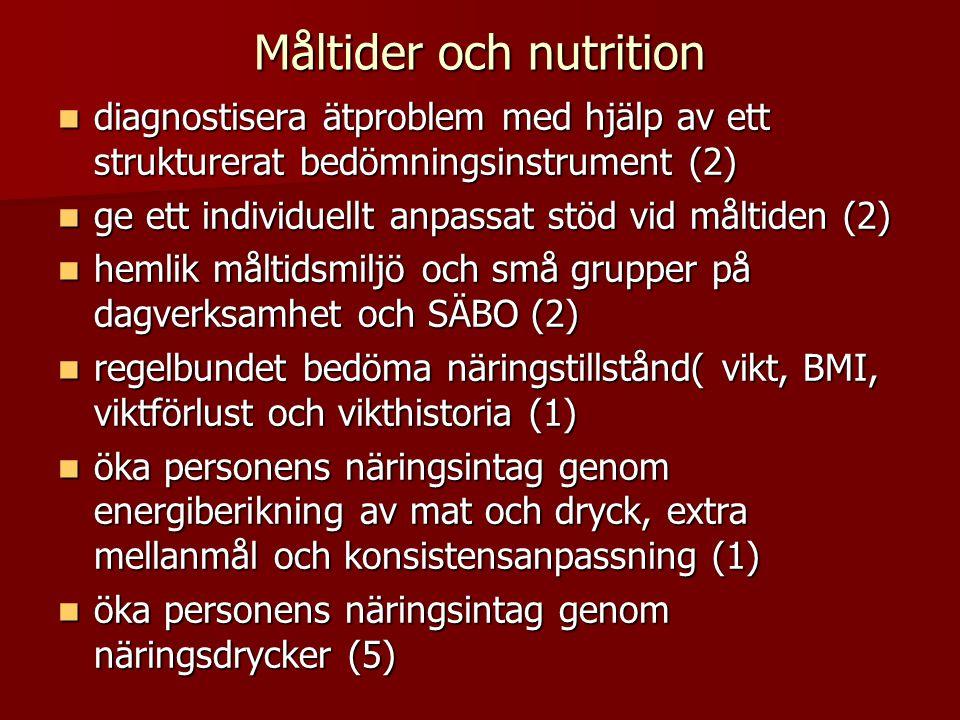 Måltider och nutrition  diagnostisera ätproblem med hjälp av ett strukturerat bedömningsinstrument (2)  ge ett individuellt anpassat stöd vid måltiden (2)  hemlik måltidsmiljö och små grupper på dagverksamhet och SÄBO (2)  regelbundet bedöma näringstillstånd( vikt, BMI, viktförlust och vikthistoria (1)  öka personens näringsintag genom energiberikning av mat och dryck, extra mellanmål och konsistensanpassning (1)  öka personens näringsintag genom näringsdrycker (5)