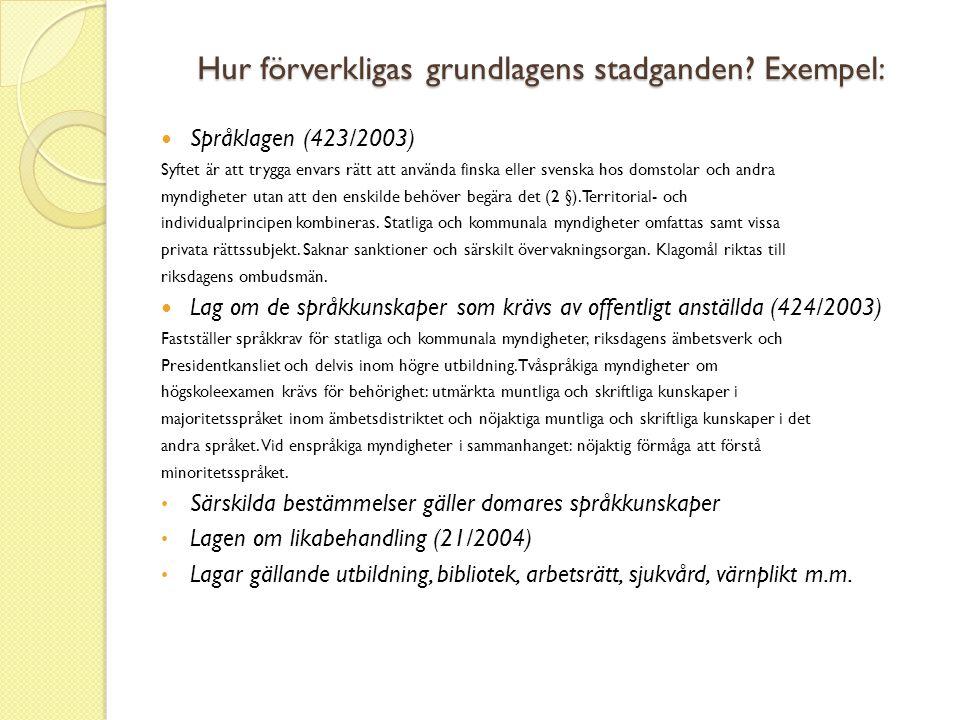 Hur förverkligas grundlagens stadganden? Exempel:  Språklagen (423/2003) Syftet är att trygga envars rätt att använda finska eller svenska hos domsto