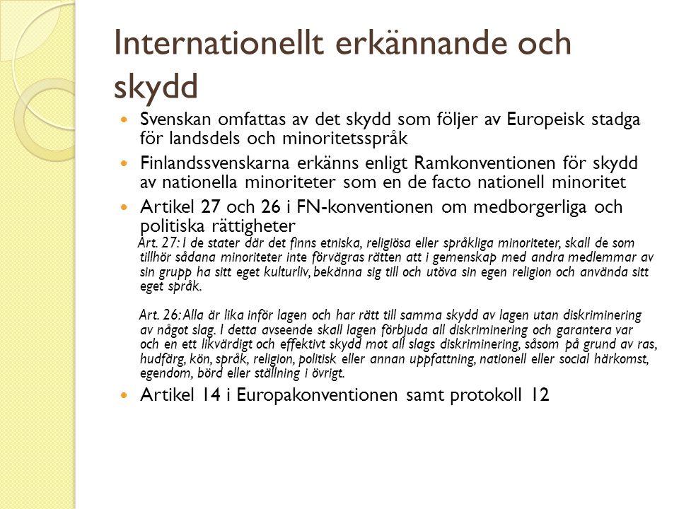 Internationellt erkännande och skydd  Svenskan omfattas av det skydd som följer av Europeisk stadga för landsdels och minoritetsspråk  Finlandssvens
