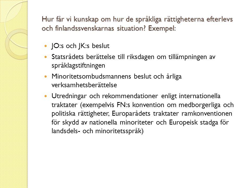 Hur får vi kunskap om hur de språkliga rättigheterna efterlevs och finlandssvenskarnas situation? Exempel:  JO:s och JK:s beslut  Statsrådets berätt