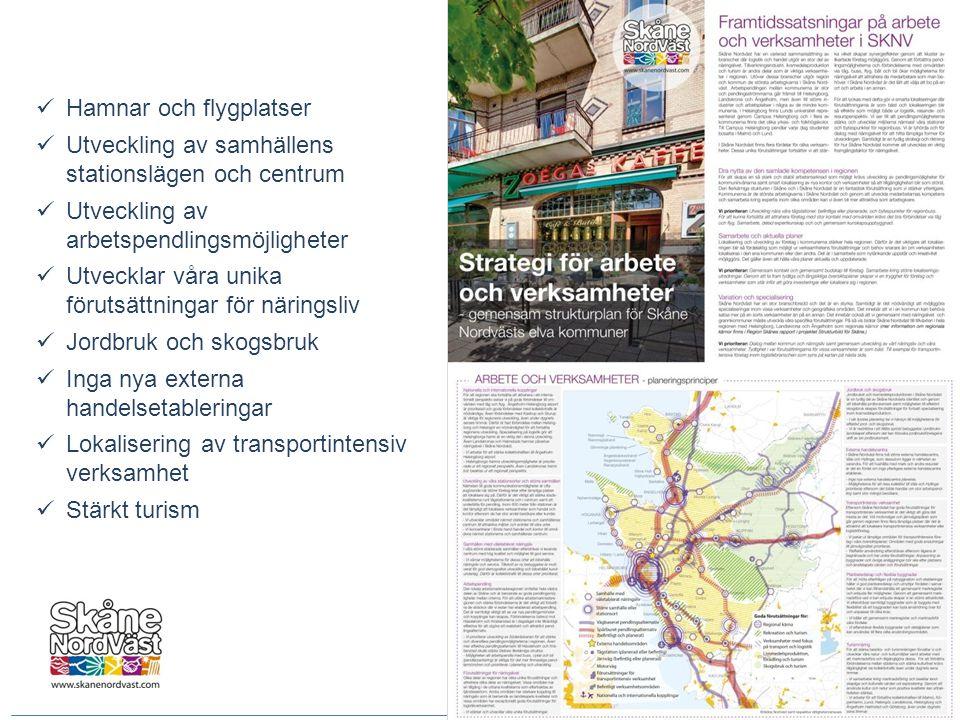 Hamnar och flygplatser  Utveckling av samhällens stationslägen och centrum  Utveckling av arbetspendlingsmöjligheter  Utvecklar våra unika föruts