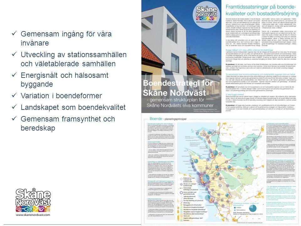 Gemensam ingång för våra invånare  Utveckling av stationssamhällen och väletablerade samhällen  Energisnålt och hälsosamt byggande  Variation i b