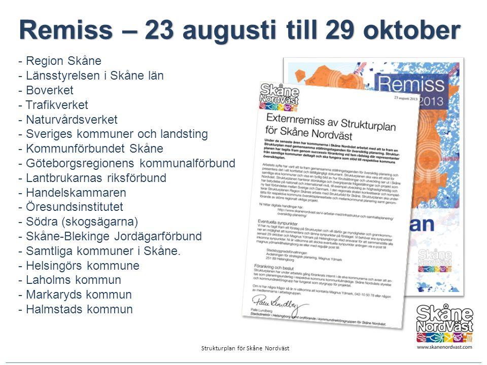 Remiss – 23 augusti till 29 oktober - Region Skåne - Länsstyrelsen i Skåne län - Boverket - Trafikverket - Naturvårdsverket - Sveriges kommuner och la