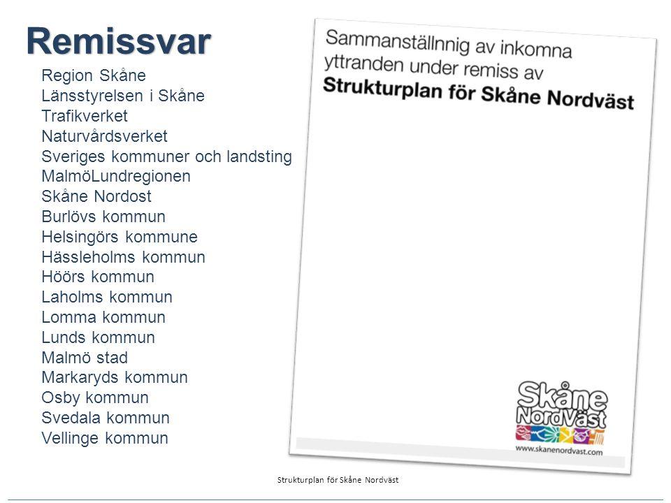 Remissvar Region Skåne Länsstyrelsen i Skåne Trafikverket Naturvårdsverket Sveriges kommuner och landsting MalmöLundregionen Skåne Nordost Burlövs kom