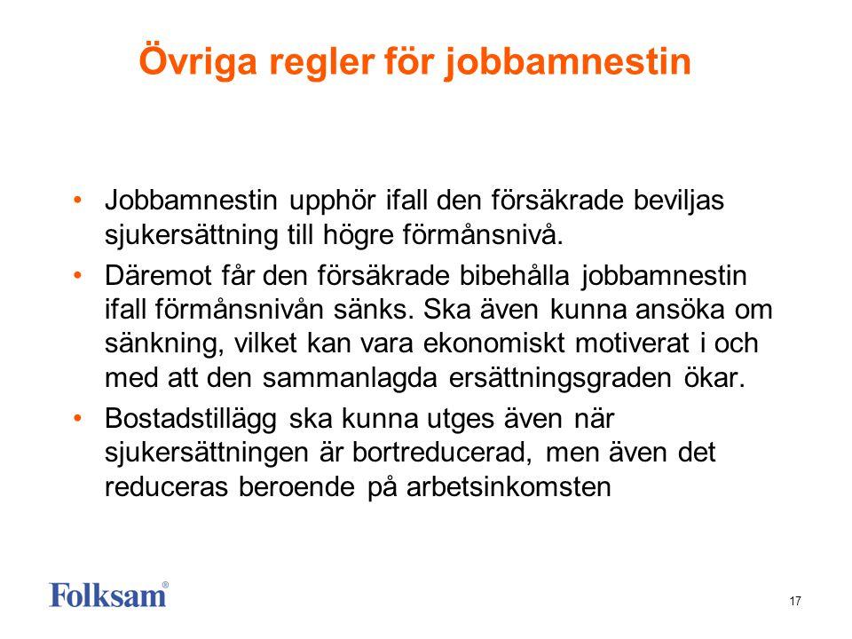 17 Övriga regler för jobbamnestin •Jobbamnestin upphör ifall den försäkrade beviljas sjukersättning till högre förmånsnivå. •Däremot får den försäkrad