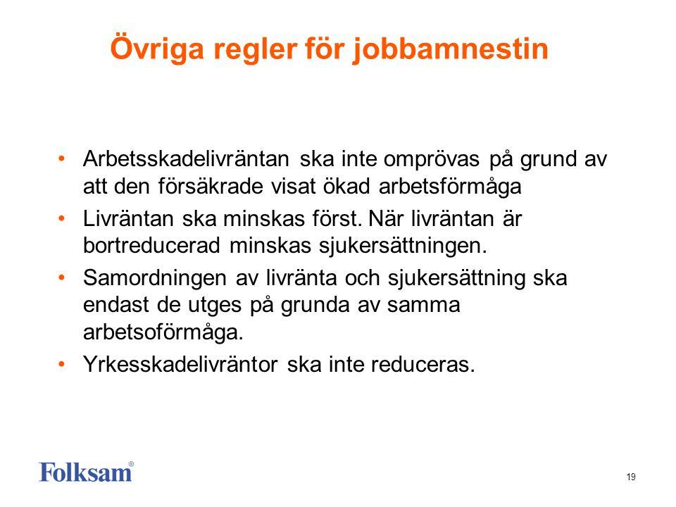 19 Övriga regler för jobbamnestin •Arbetsskadelivräntan ska inte omprövas på grund av att den försäkrade visat ökad arbetsförmåga •Livräntan ska minsk