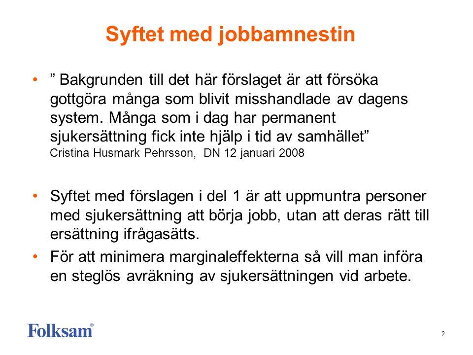 """2 Syftet med jobbamnestin •"""" Bakgrunden till det här förslaget är att försöka gottgöra många som blivit misshandlade av dagens system. Många som i dag"""