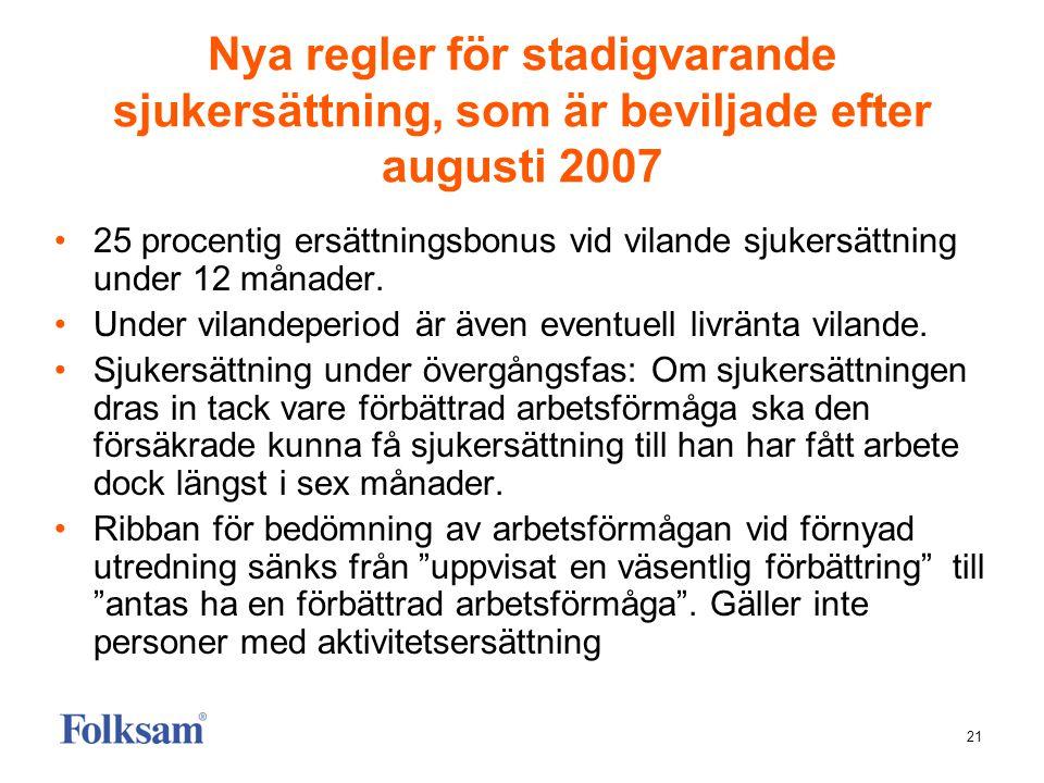 21 Nya regler för stadigvarande sjukersättning, som är beviljade efter augusti 2007 •25 procentig ersättningsbonus vid vilande sjukersättning under 12