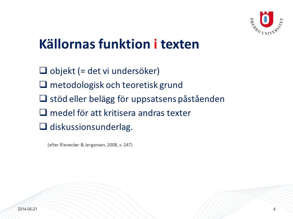 Källornas funktion i texten  objekt (= det vi undersöker)  metodologisk och teoretisk grund  stöd eller belägg för uppsatsens påståenden  medel fö