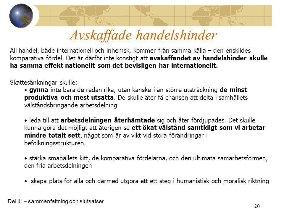 20 All handel, både internationell och inhemsk, kommer från samma källa – den enskildes komparativa fördel. Det är därför inte konstigt att avskaffand