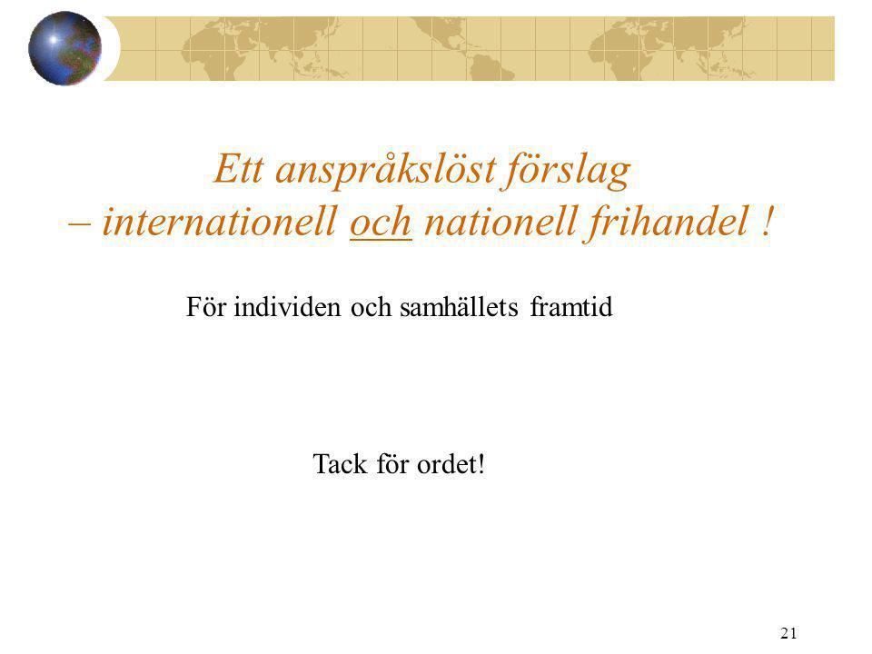 21 Ett anspråkslöst förslag – internationell och nationell frihandel ! För individen och samhällets framtid Tack för ordet!