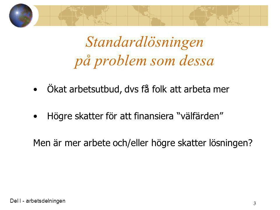 """3 Standardlösningen på problem som dessa •Ökat arbetsutbud, dvs få folk att arbeta mer •Högre skatter för att finansiera """"välfärden"""" Men är mer arbete"""