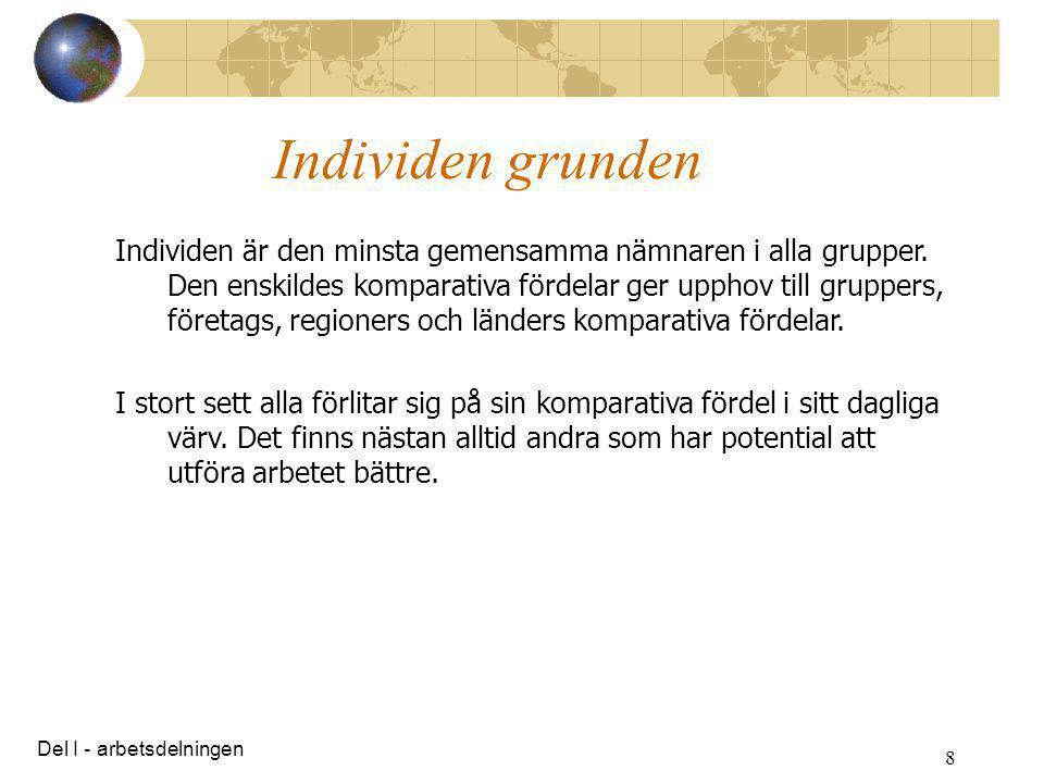 8 Individen grunden Individen är den minsta gemensamma nämnaren i alla grupper. Den enskildes komparativa fördelar ger upphov till gruppers, företags,