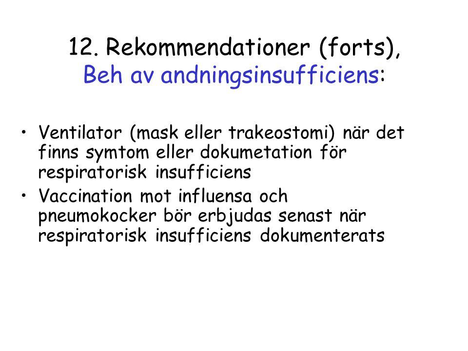 12. Rekommendationer (forts), Beh av andningsinsufficiens: •Ventilator (mask eller trakeostomi) när det finns symtom eller dokumetation för respirator
