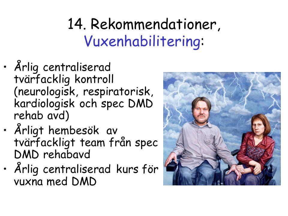 14. Rekommendationer, Vuxenhabilitering: •Årlig centraliserad tvärfacklig kontroll (neurologisk, respiratorisk, kardiologisk och spec DMD rehab avd) •