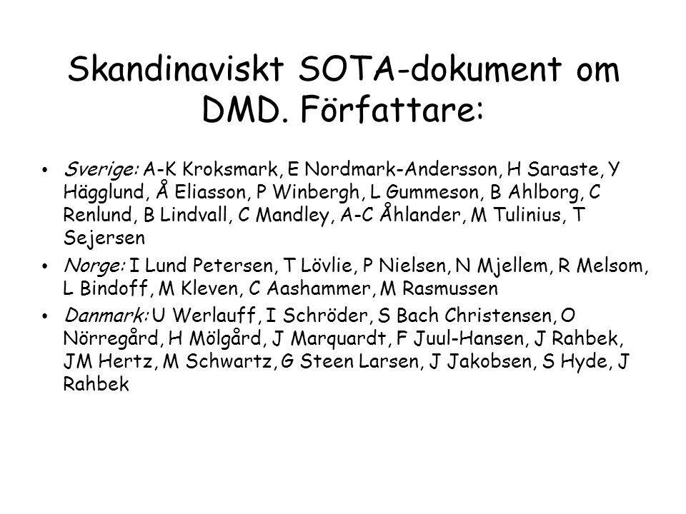 Skandinaviskt SOTA-dokument om DMD. Författare: • Sverige: A-K Kroksmark, E Nordmark-Andersson, H Saraste, Y Hägglund, Å Eliasson, P Winbergh, L Gumme