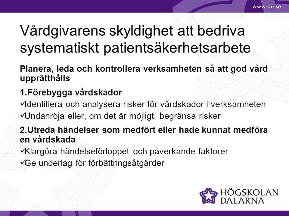 3.Anmälningar enligt Lex Maria  Anmäla händelser som medfört eller hade kunnat med-föra allvarlig vårdskada  Engagera patienter och närstående i patientsäkerhets- arbetet Vårdgivarens skyldighet att bedriva systematiskt patientsäkerhetsarbete