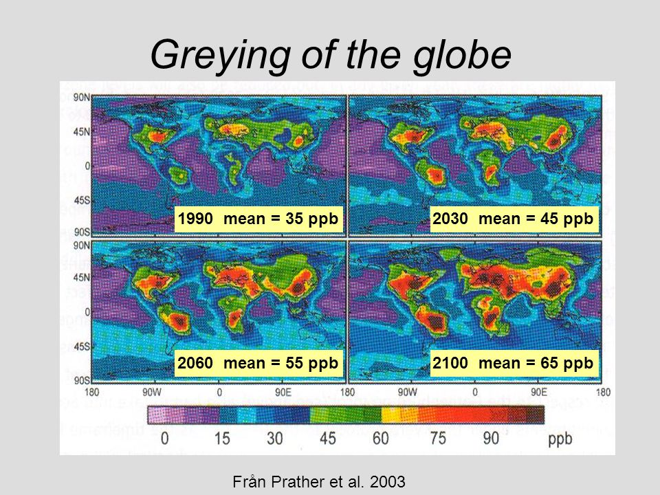 1990 mean = 35 ppb2030 mean = 45 ppb 2060 mean = 55 ppb2100 mean = 65 ppb Från Prather et al. 2003 Greying of the globe