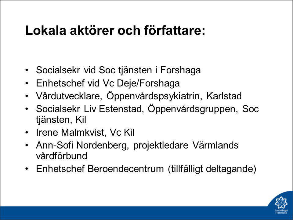Lokala aktörer och författare: •Socialsekr vid Soc tjänsten i Forshaga •Enhetschef vid Vc Deje/Forshaga •Vårdutvecklare, Öppenvårdspsykiatrin, Karlsta