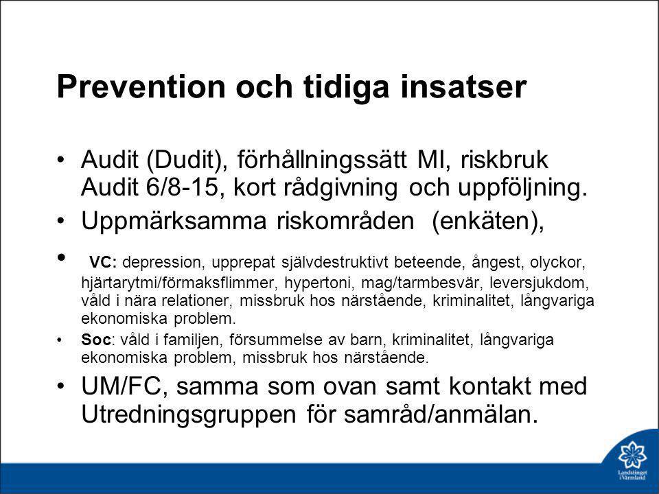 Prevention och tidiga insatser •Audit (Dudit), förhållningssätt MI, riskbruk Audit 6/8-15, kort rådgivning och uppföljning. •Uppmärksamma riskområden