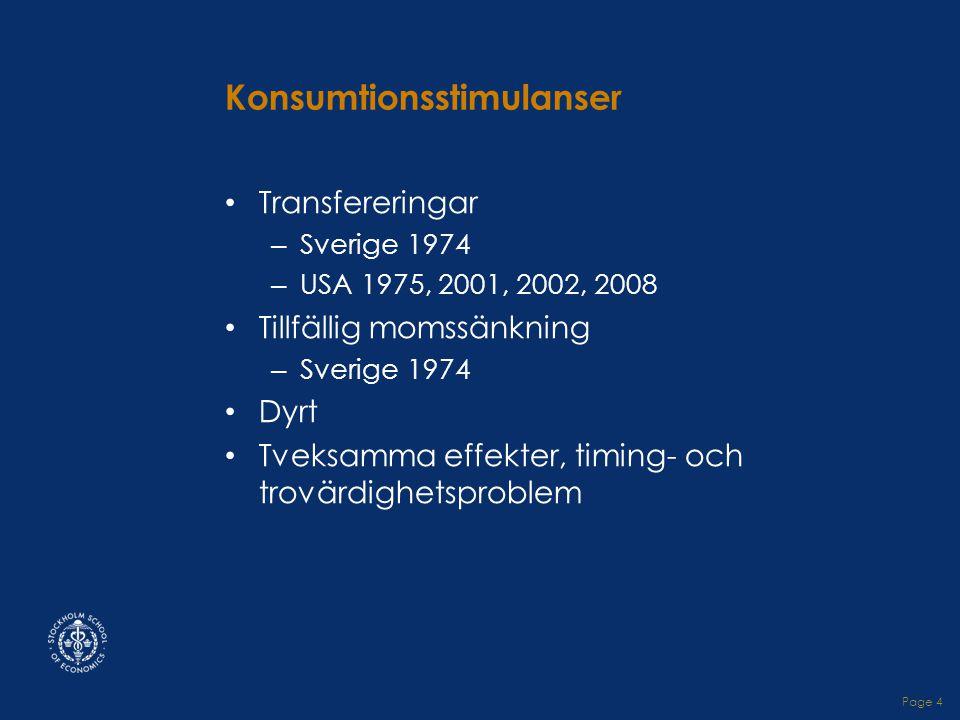 Page 4 Konsumtionsstimulanser • Transfereringar – Sverige 1974 – USA 1975, 2001, 2002, 2008 • Tillfällig momssänkning – Sverige 1974 • Dyrt • Tveksamma effekter, timing- och trovärdighetsproblem