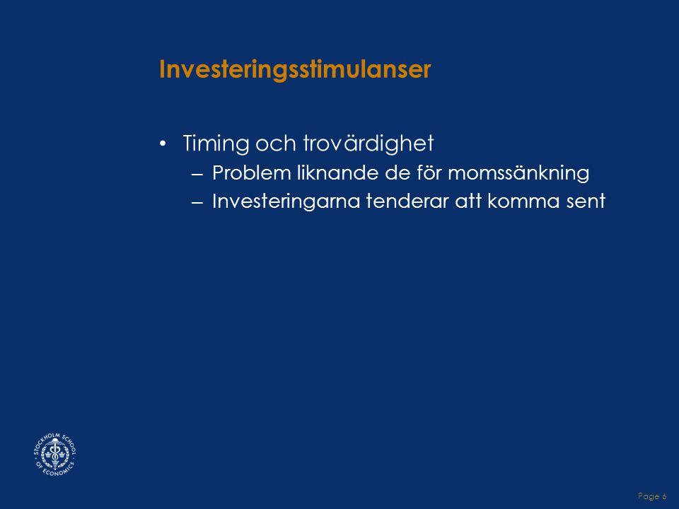 Page 6 Investeringsstimulanser • Timing och trovärdighet – Problem liknande de för momssänkning – Investeringarna tenderar att komma sent
