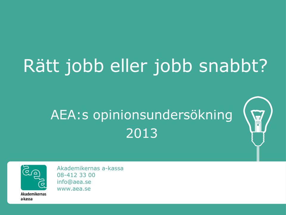 Rätt jobb eller jobb snabbt AEA:s opinionsundersökning 2013